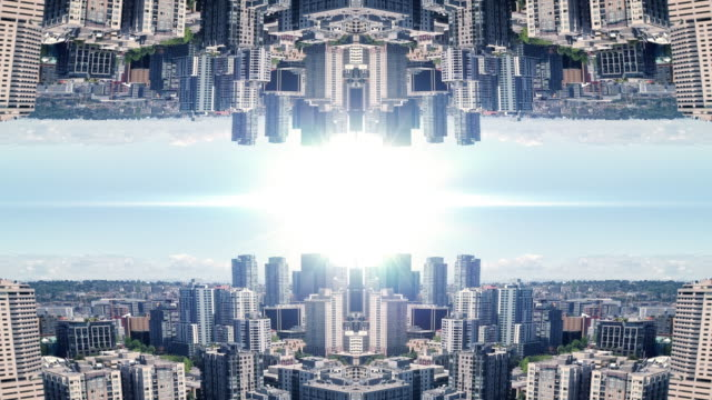 Powerful Business Background of Mirror City Aerial and Bright Light Flare video