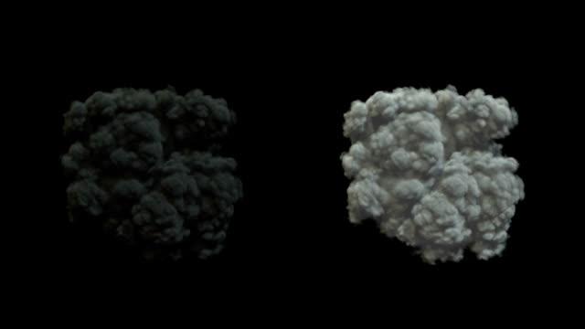 potente esplosione con fumo - sezione superiore video stock e b–roll