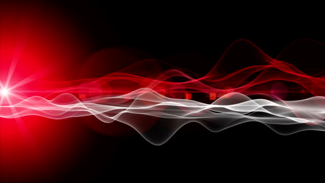 Powerful futuristic animation with wave object and light in slow motion, loop HD 1080p video