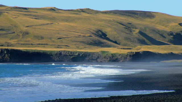 powerful waves of Atlantic ocean on southern coast of Iceland, black sand beach, near volcano Katla video