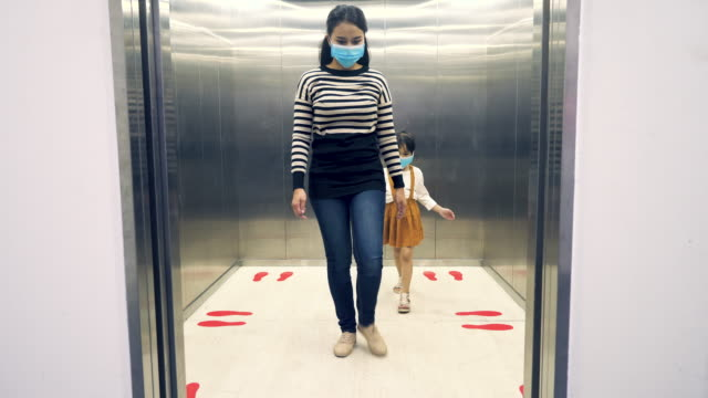 ppeople using elevator after covid-19 outbreak. - new normal video stock e b–roll