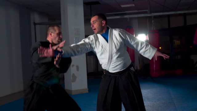 Practicing aikido techniques