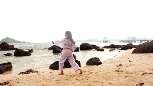 Practising Martial Arts Outdoors On the beach video