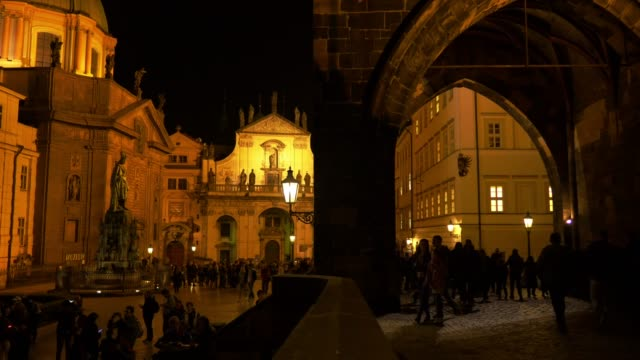 Prague Charles Bridge And Prag Křižovnické Náměstí At Night video
