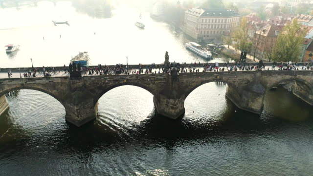 Prague, flight over the city, top view, top view of Charles Bridge, Vltava River video