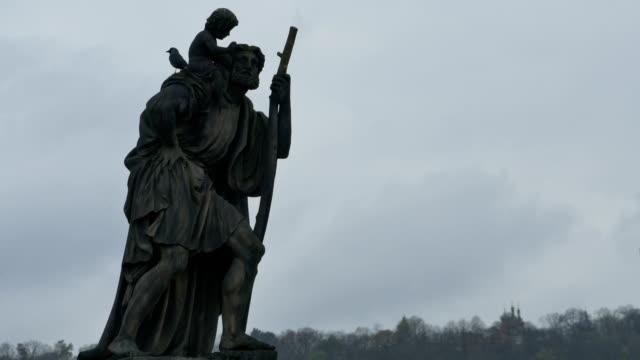 Prague Saint Sculpture on Karol Bridge video