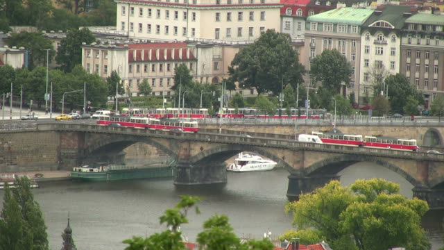 HD: Prague Trams at River Vltava, Czech Republic, Eastern Europe