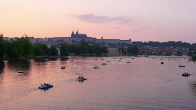 Prague view at sunset, Czech Republic video