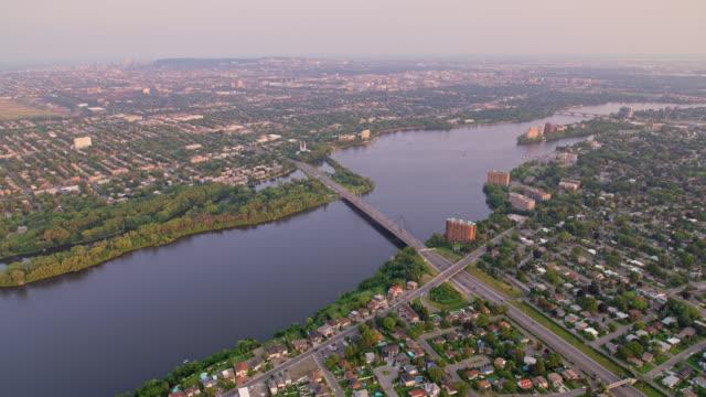 AERIAL Prairie Rivers in Montreal, Canada