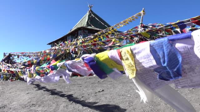 祈りの旗風、レー ・ ラダック、北インドに浮かぶ - ネパール点の映像素材/bロール
