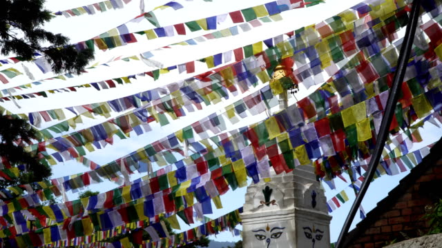 Prayer flags fluttering in the wind video