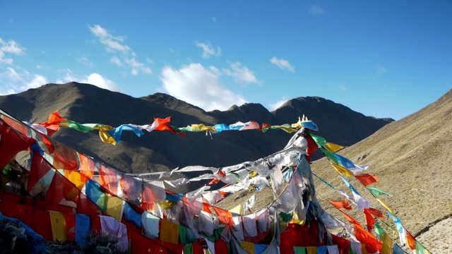 Prayer flags in the mountains of Tibet 2 video