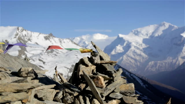 Prayer Flags on a Mountain Summit, Nepal video