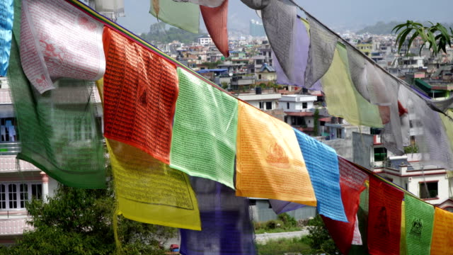 Prayer flags on the background of Kathmandu houses video