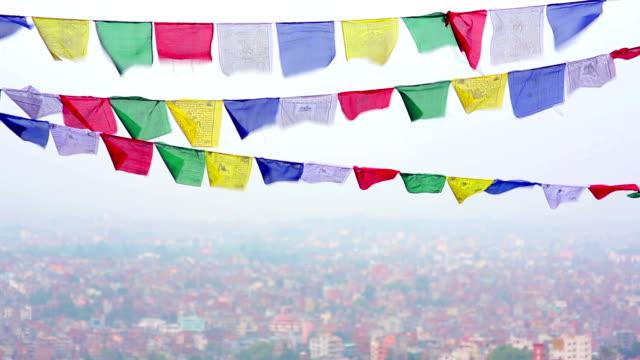 Prayer flags over Kathmandu, Nepal video