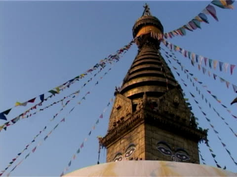 Prayer flags, Swayambhunath stupa video
