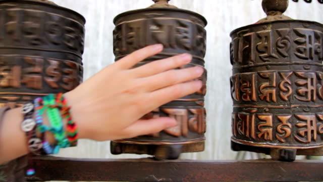 Prayer wheel in Swayambhunath Nepal video