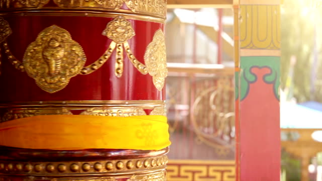 Prayer wheel rotating Thikse Monastery, Leh,Ladakh, India.Traditionally, the mantras are written in Sanskrit on the outside of the wheel video