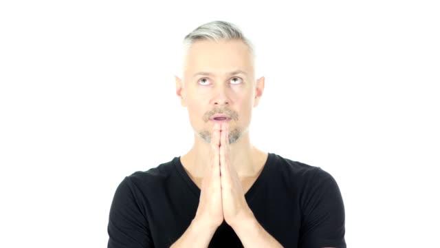 Praying, Help me God, Upset Middle Aged Man, White Background video