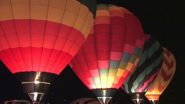 Pre-Dawn Hot Air Balloons Glowing video