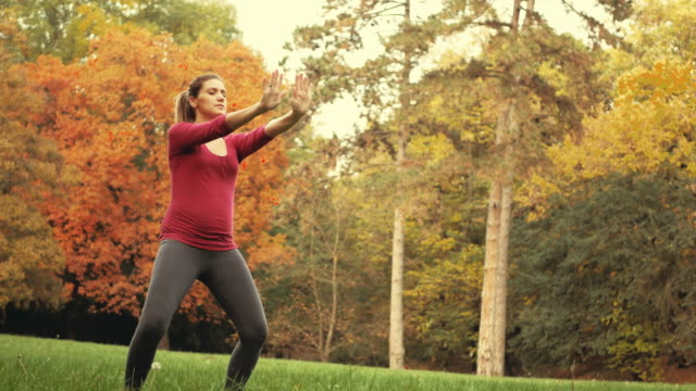 Pregnant woman in early 30s meditating and relaxing in park Video of young beautiful woman in 30s, five or six months pregnant, walking in park and relaxing on beautiful autumn day. Woman is also practicing breathing exercises, yoga and meditation mental wellbeing stock videos & royalty-free footage