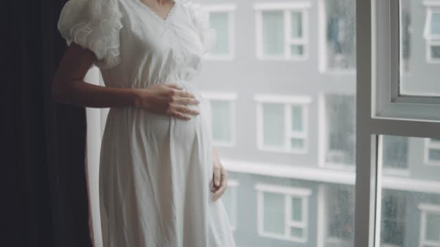 schwangere frau schaut durch fenster im wohnzimmer - menschlicher verdauungstrakt stock-videos und b-roll-filmmaterial