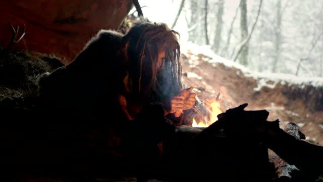 vídeos y material grabado en eventos de stock de hombre de las cavernas prehistórica en su cueva - árboles genealógicos