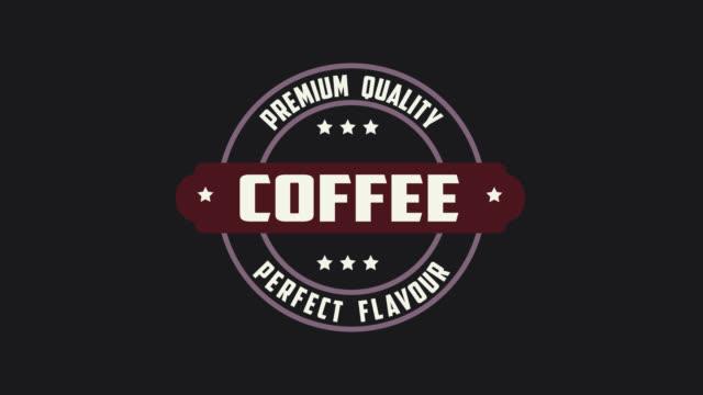 premium kvalitet kaffe perfekt smak ordet animation rörelse grafisk video med alpha channel, transparent bakgrundsanvändning för webbplats banner, kupong, försäljning marknadsföring, reklam, marknadsföring 4k footage - logotyp bildbanksvideor och videomaterial från bakom kulisserna
