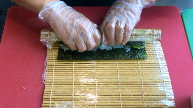 Preparation of a sushi roll video