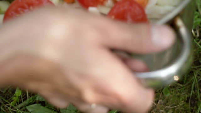 preparation of zucchini with vegetables close up video