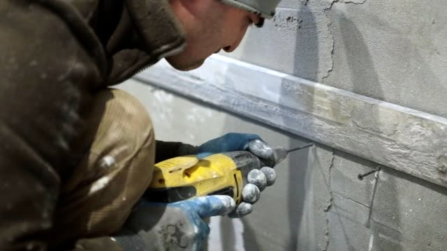 Preparatory works for the installation of ceramic tiles. video