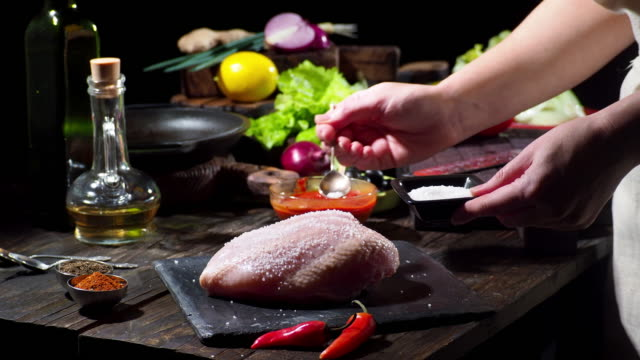 Preparing chicken breast with olives