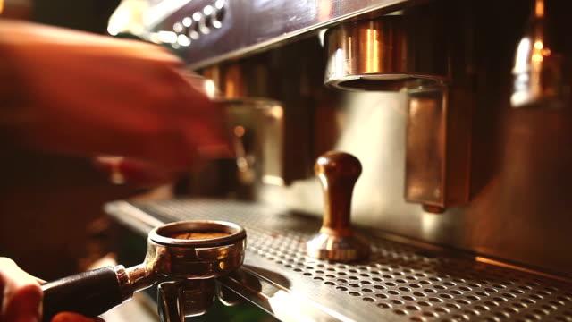 Preparing coffee in a bar video