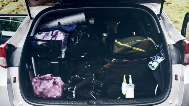 preparing for journey. fully packed car trunk - pieno video stock e b–roll