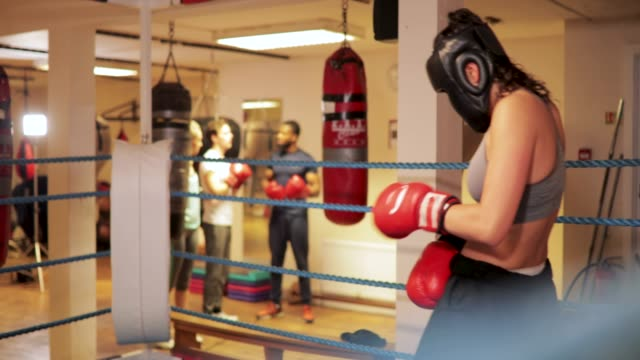 preparing gloves for boxing - sparring allenamento video stock e b–roll