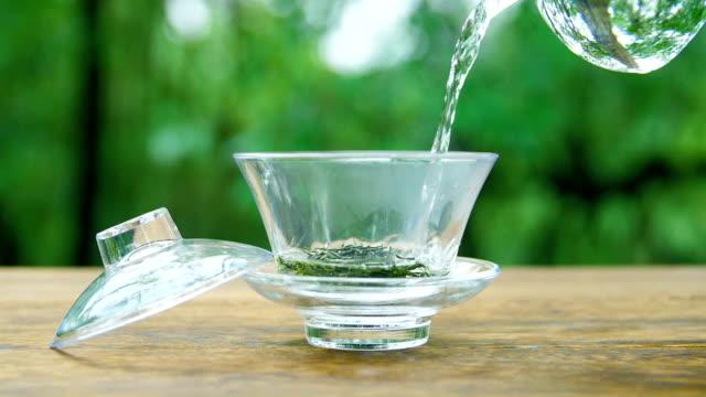 Preparing green tea in the nature