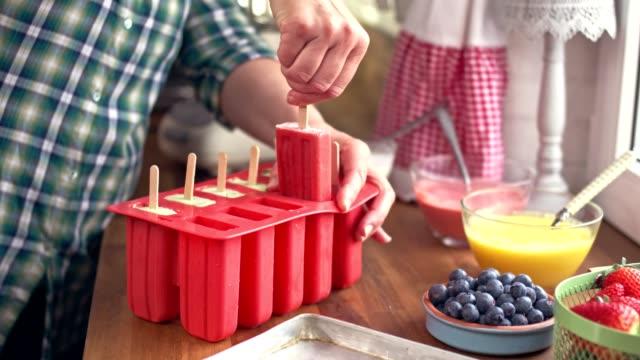 Preparing Mango, Strawberry, Blueberry, Yogurt Ice Cream on Stick