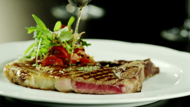 Preparing Meat Dish in Luxury Restaurant, Close-Up. video