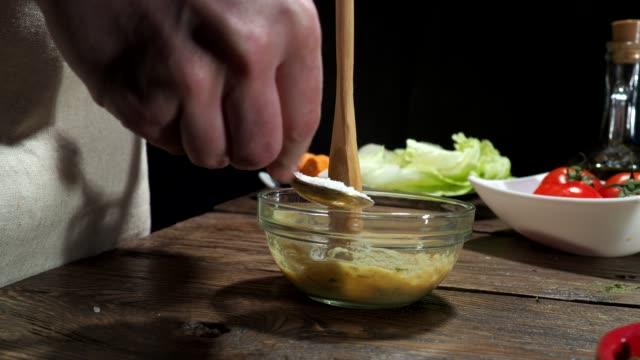 Preparing salad dressing video