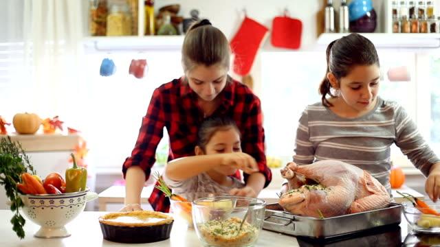 vídeos y material grabado en eventos de stock de prepara el pavo para la cena navideña - thanksgiving turkey