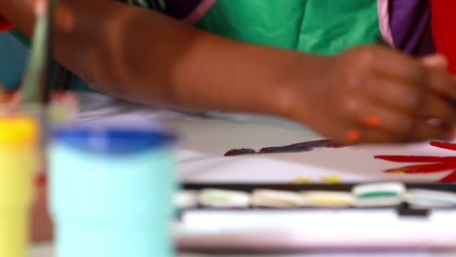 Preschool class painting at table in classroom video