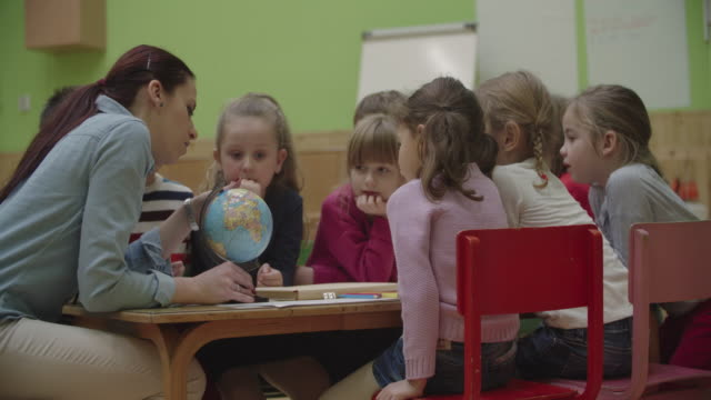4K: Preschool teacher and children learning geographic in classroom. Preschool teacher teaching her children about geography. Using globe and asking the questions. Children with arms raised answering. Selective focus to teacher. Models in this shot are part of real kindergarten group and their teacher. Shot with Sony FS700R with Odyssey7Q native ProRes422HQ child care stock videos & royalty-free footage