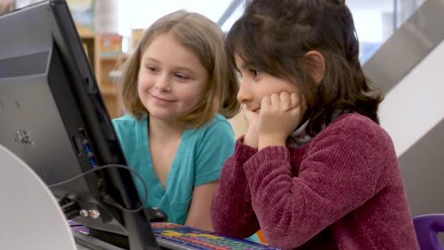 Video Preschoolers learning how to use a computer
