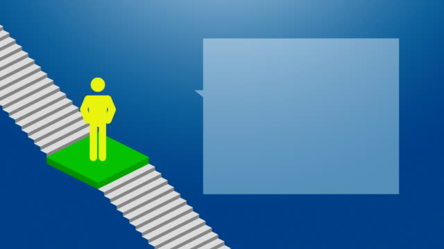 stockvideo's en b-roll-footage met presentatie pictogram man pictogram groen kleur met tekstballon ga naar business succes trap stap voor stap loopbare op blauwe achtergrond met kleurovergang, animatie 4k - ladder