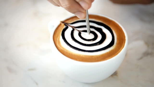 Presenting a cups of coffee mocha. video