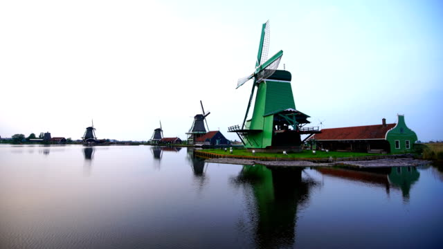 Preserved historic windmills in Zaandam