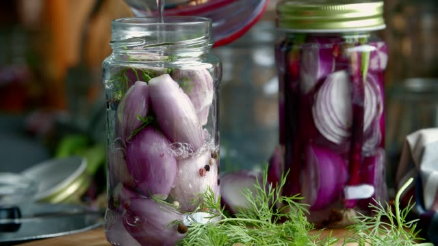 Preserving Organic Red Onions and Red Spring Onions in Jars video