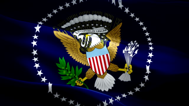 president flag video waving in wind. old glory blue for president elections white house washington flag background. presidential standard united states elections flag looping closeup 1080p full hd 1920x1080 - white house filmów i materiałów b-roll