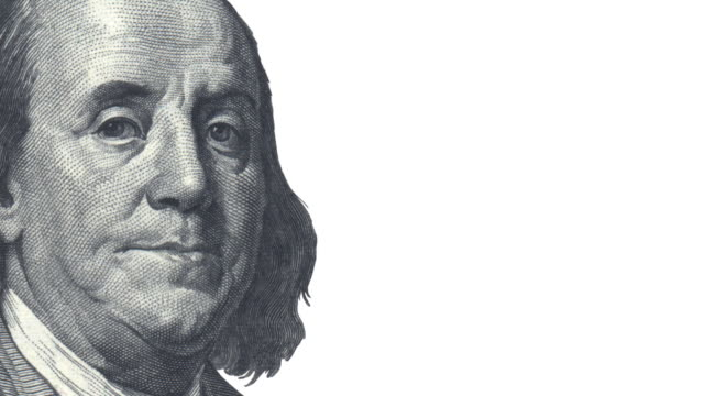 President Franklin is talking - copy space President Franklin from the 100 Dollar Bill  talks and winks (happy and sad versions) us paper currency stock videos & royalty-free footage