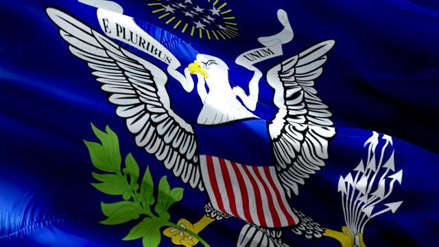 flaga prezydenta usa wideo macha wiatrem. biały dom prezydencki herb tło flagi. biały dom głosować na wybory prezydenta flaga białego domu. wybory w stanach zjednoczonych flaga - white house filmów i materiałów b-roll